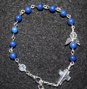 Lapis Angel of Inner Strength Prayer Bracelet